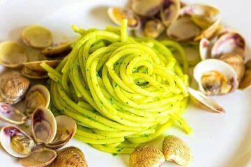 cuoco nostromo vongole e pesto aromatizzato al limone amma cucena